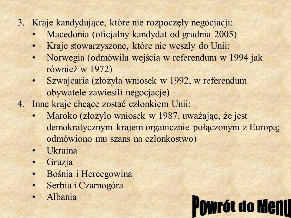 3.Kraje kandydujące, które nie rozpoczęły negocjacji: Macedonia (oficjalny kandydat od grudnia 2005) Kraje stowarzyszone, które nie weszły do Unii: No