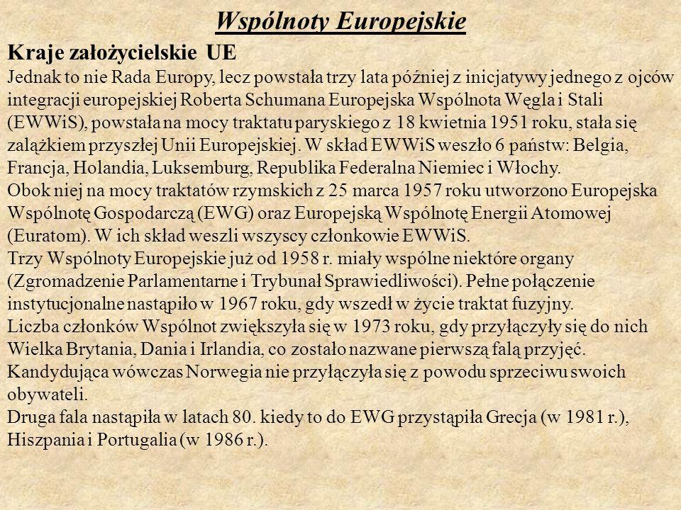 Wspólnoty Europejskie Kraje założycielskie UE Jednak to nie Rada Europy, lecz powstała trzy lata później z inicjatywy jednego z ojców integracji europ