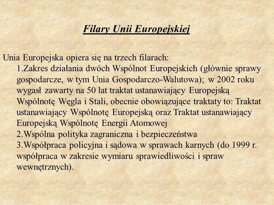 Unia Europejska opiera się na trzech filarach: 1.Zakres działania dwóch Wspólnot Europejskich (głównie sprawy gospodarcze, w tym Unia Gospodarczo-Walu
