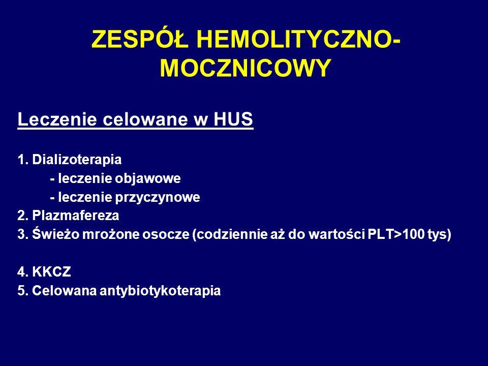 ZESPÓŁ HEMOLITYCZNO- MOCZNICOWY Leczenie celowane w HUS 1. Dializoterapia - leczenie objawowe - leczenie przyczynowe 2. Plazmafereza 3. Świeżo mrożone