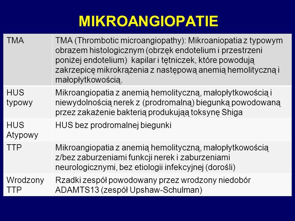 MIKROANGIOPATIE TMATMA (Thrombotic microangiopathy): Mikroaniopatia z typowym obrazem histologicznym (obrzęk endotelium i przestrzeni poniżej endoteli