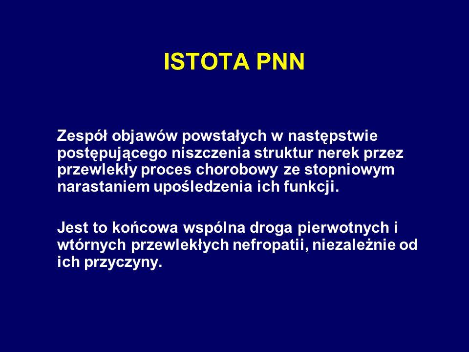 ISTOTA PNN Zespół objawów powstałych w następstwie postępującego niszczenia struktur nerek przez przewlekły proces chorobowy ze stopniowym narastaniem