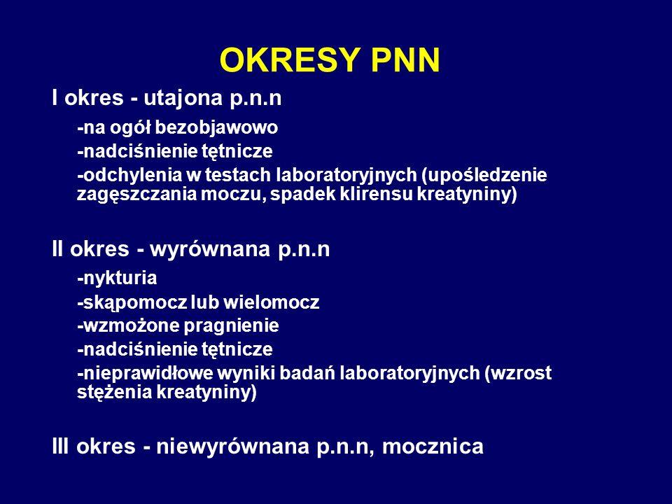 OKRESY PNN I okres - utajona p.n.n -na ogół bezobjawowo -nadciśnienie tętnicze -odchylenia w testach laboratoryjnych (upośledzenie zagęszczania moczu,