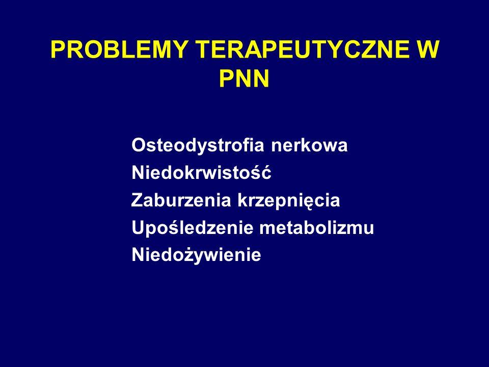 PROBLEMY TERAPEUTYCZNE W PNN Osteodystrofia nerkowa Niedokrwistość Zaburzenia krzepnięcia Upośledzenie metabolizmu Niedożywienie