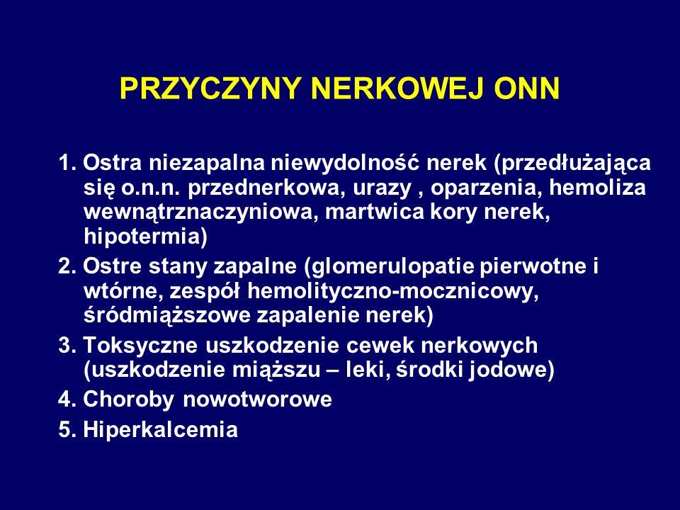 PRZYCZYNY NERKOWEJ ONN 1. Ostra niezapalna niewydolność nerek (przedłużająca się o.n.n. przednerkowa, urazy, oparzenia, hemoliza wewnątrznaczyniowa, m