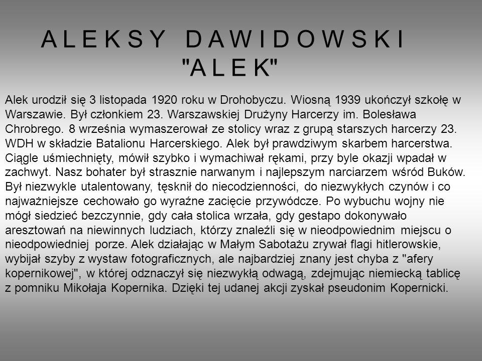 A L E K S Y D A W I D O W S K I A L E K Alek urodził się 3 listopada 1920 roku w Drohobyczu.