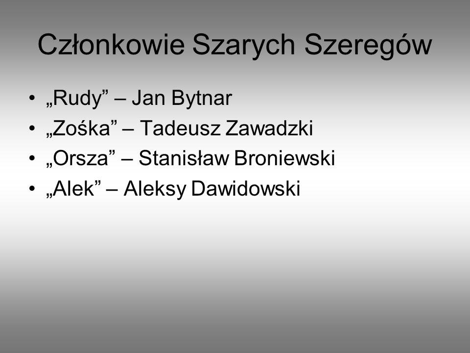 Członkowie Szarych Szeregów Zośka – Tadeusz Zawadzki Rudy – Jan Bytnar Orsza – Stanisław Broniewski Alek – Aleksy Dawidowski