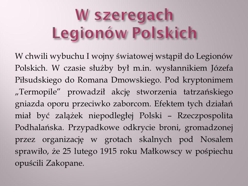 Droga ich emigracji wiodła przez Austrię, Szwajcarię i Francję, aż do Anglii, gdzie Małkowski starał się przyjęcie do wojska.