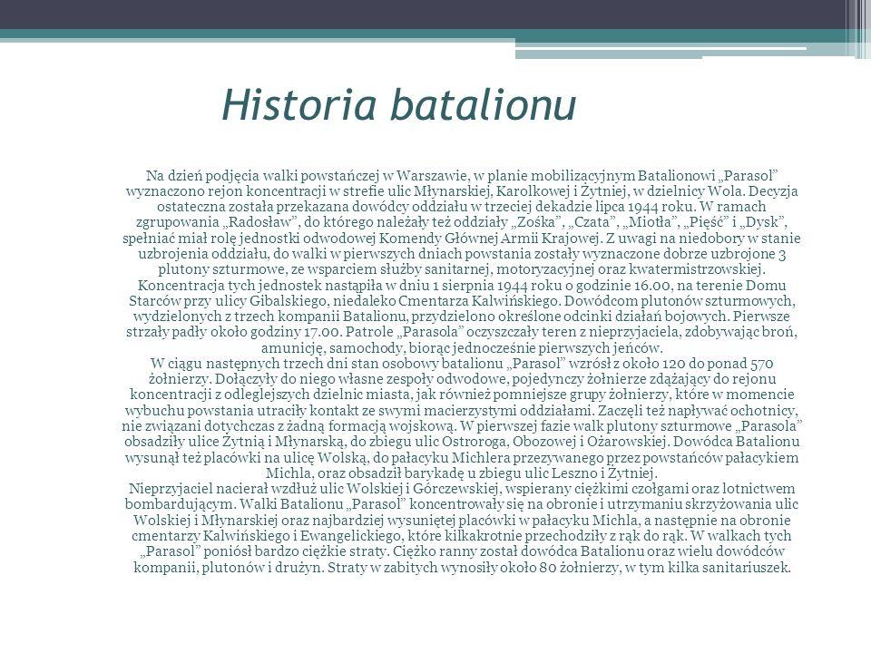 Historia batalionu Na dzień podjęcia walki powstańczej w Warszawie, w planie mobilizacyjnym Batalionowi Parasol wyznaczono rejon koncentracji w strefi