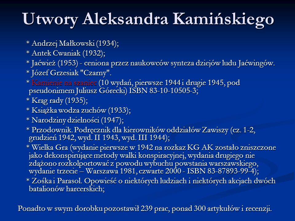 Utwory Aleksandra Kamińskiego * Andrzej Małkowski (1934); * Andrzej Małkowski (1934); * Antek Cwaniak (1932); * Antek Cwaniak (1932); * Jaćwież (1953)