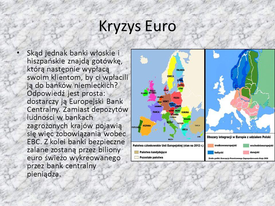 Kryzys Euro Skąd jednak banki włoskie i hiszpańskie znajdą gotówkę, którą następnie wypłacą swoim klientom, by ci wpłacili ją do banków niemieckich.