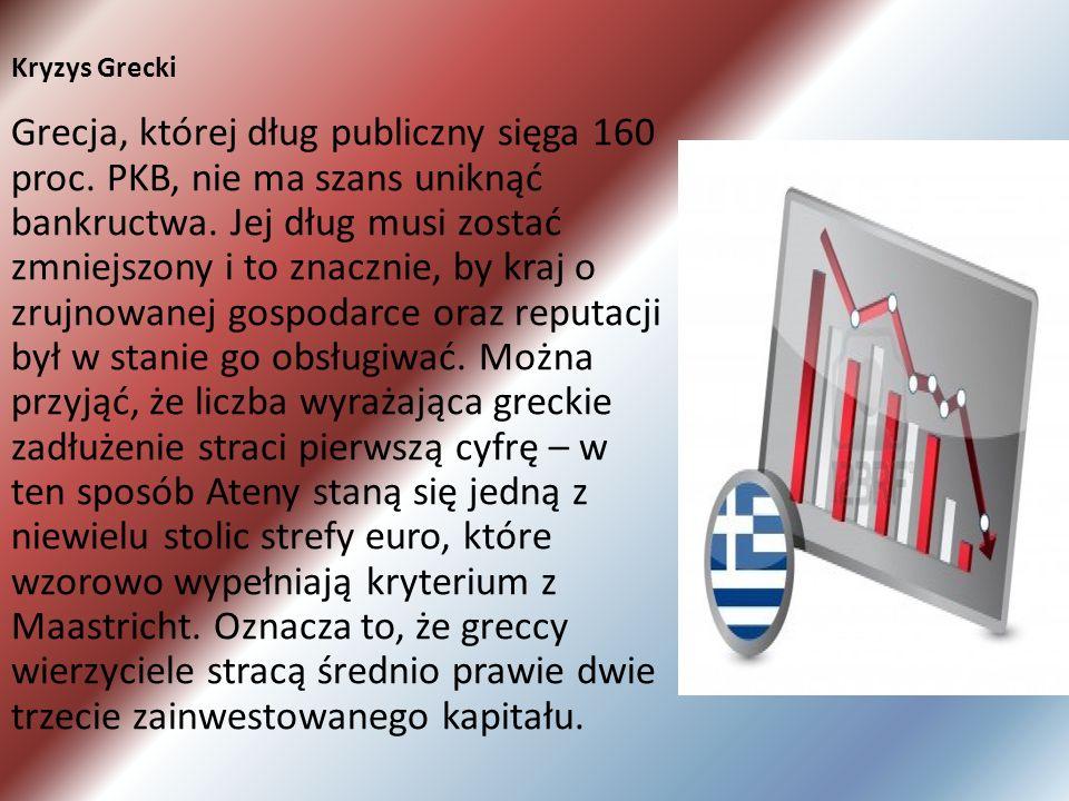 Kryzys Grecki Grecja, której dług publiczny sięga 160 proc. PKB, nie ma szans uniknąć bankructwa. Jej dług musi zostać zmniejszony i to znacznie, by k