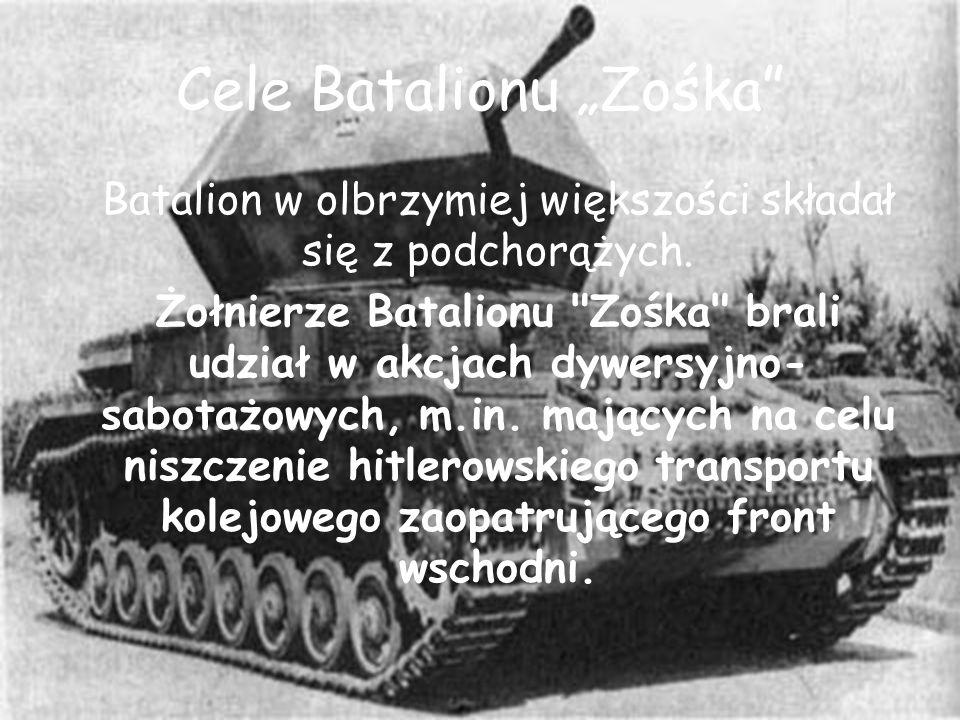 Cele Batalionu Zośka Batalion w olbrzymiej większości składał się z podchorążych. Żołnierze Batalionu