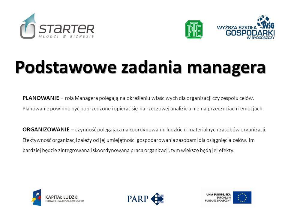 PLANOWANIE – rola Managera polegają na określeniu właściwych dla organizacji czy zespołu celów. Planowanie powinno być poprzedzone i opierać się na rz