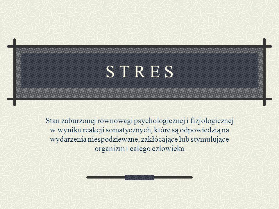 S T R E S Stan zaburzonej równowagi psychologicznej i fizjologicznej w wyniku reakcji somatycznych, które są odpowiedzią na wydarzenia niespodziewane,