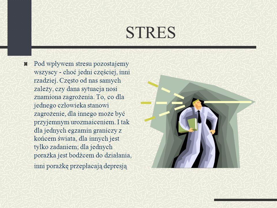STRES Pod wpływem stresu pozostajemy wszyscy - choć jedni częściej, inni rzadziej. Często od nas samych zależy, czy dana sytuacja nosi znamiona zagroż