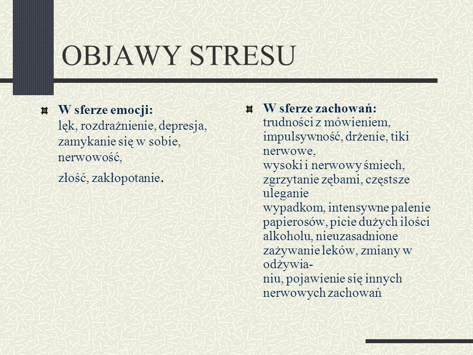 OBJAWY STRESU W sferze emocji: lęk, rozdrażnienie, depresja, zamykanie się w sobie, nerwowość, złość, zakłopotanie. W sferze zachowań: trudności z mów