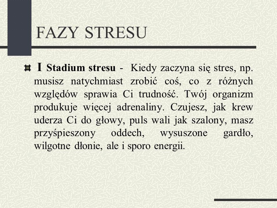 FAZY STRESU I Stadium stresu - Kiedy zaczyna się stres, np. musisz natychmiast zrobić coś, co z różnych względów sprawia Ci trudność. Twój organizm pr