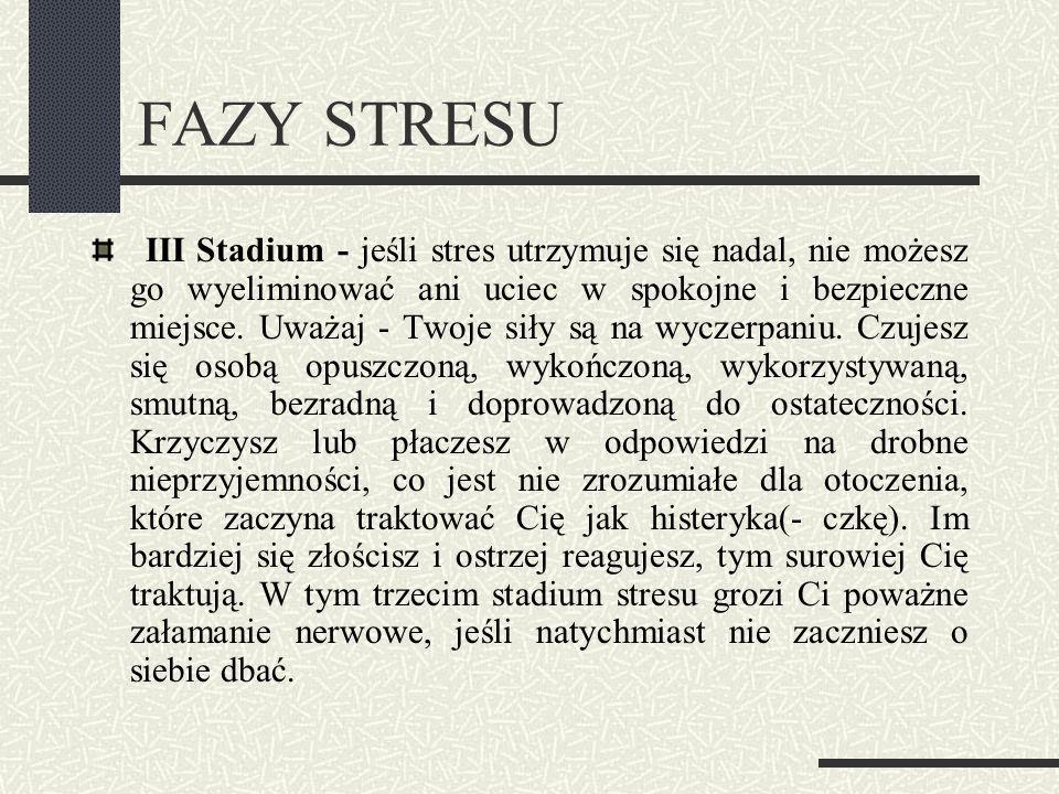 FAZY STRESU III Stadium - jeśli stres utrzymuje się nadal, nie możesz go wyeliminować ani uciec w spokojne i bezpieczne miejsce. Uważaj - Twoje siły s