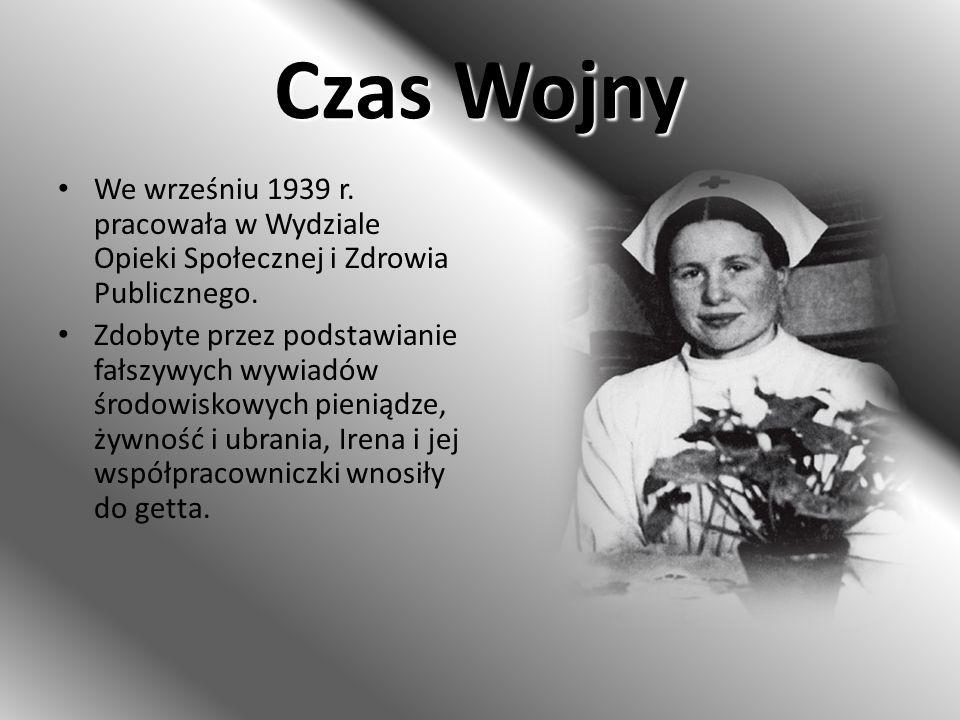 Czas Wojny Irena Sendler zorganizowała w Warszawie siatkę ludzi, zajmujących się przemycaniem żydowskich dzieci na aryjską stronę miasta.