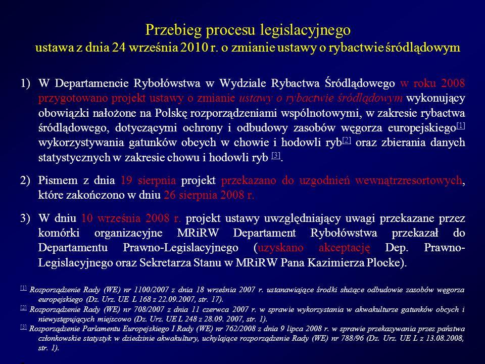 Zmiany wprowadzone do ustawy o rybactwie śródlądowym: Nowe obowiązki wynikające z wejścia w życie ustawy z dnia 24 września 2010 r.