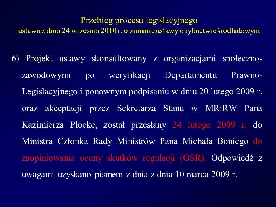Przebieg procesu legislacyjnego u stawa z dnia 24 września 2010 r.