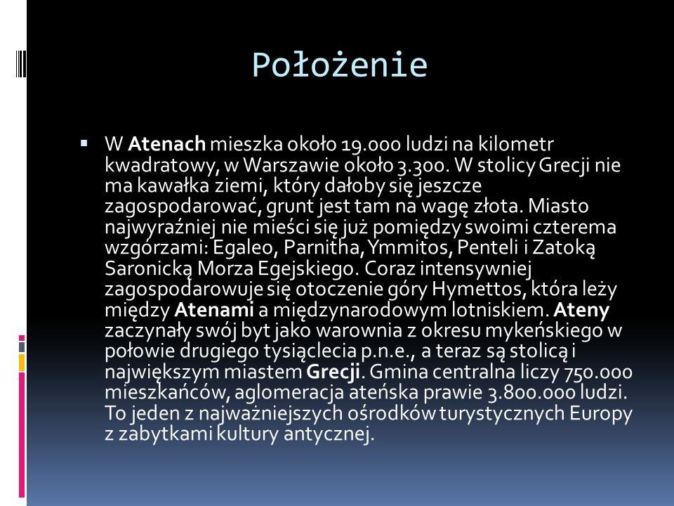 Położenie W Atenach mieszka około 19.000 ludzi na kilometr kwadratowy, w Warszawie około 3.300. W stolicy Grecji nie ma kawałka ziemi, który dałoby si