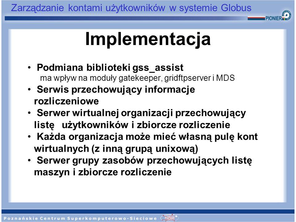 Zarządzanie kontami użytkowników w systemie Globus Podmiana biblioteki gss_assist ma wpływ na moduły gatekeeper, gridftpserver i MDS Serwis przechowuj