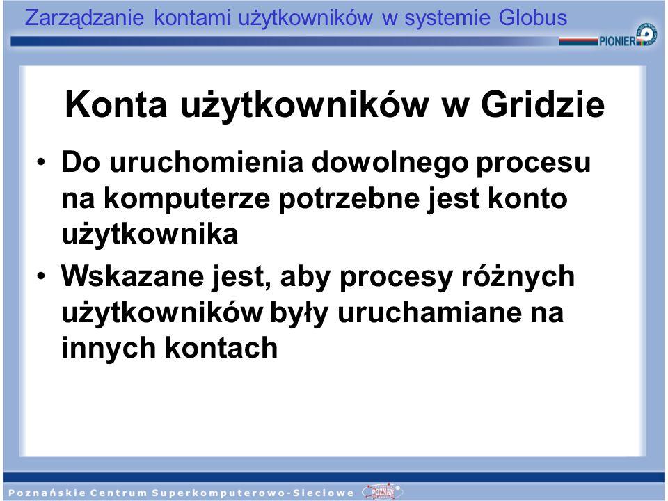 Zarządzanie kontami użytkowników w systemie Globus Konta użytkowników w Gridzie Do uruchomienia dowolnego procesu na komputerze potrzebne jest konto u