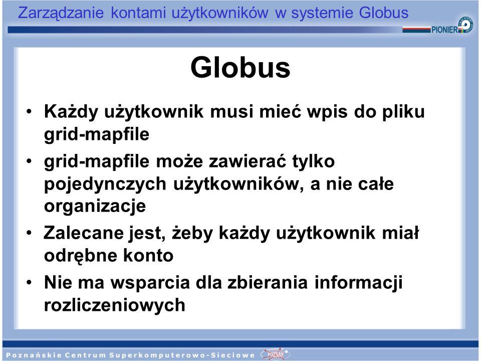 Zarządzanie kontami użytkowników w systemie Globus Globus Każdy użytkownik musi mieć wpis do pliku grid-mapfile grid-mapfile może zawierać tylko pojed