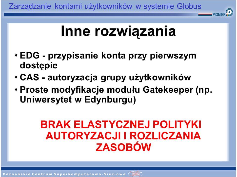 Zarządzanie kontami użytkowników w systemie Globus Inne rozwiązania EDG - przypisanie konta przy pierwszym dostępie CAS - autoryzacja grupy użytkownik