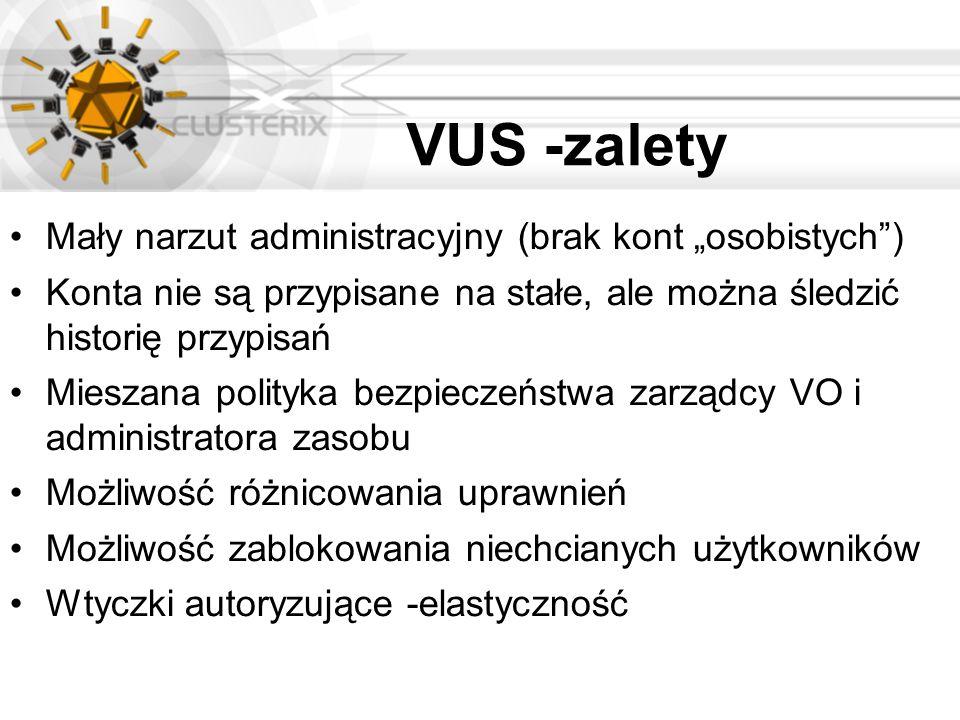 VUS -zalety Mały narzut administracyjny (brak kont osobistych) Konta nie są przypisane na stałe, ale można śledzić historię przypisań Mieszana polityk