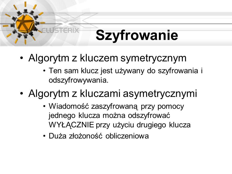 Szyfrowanie Algorytm z kluczem symetrycznym Ten sam klucz jest używany do szyfrowania i odszyfrowywania. Algorytm z kluczami asymetrycznymi Wiadomość