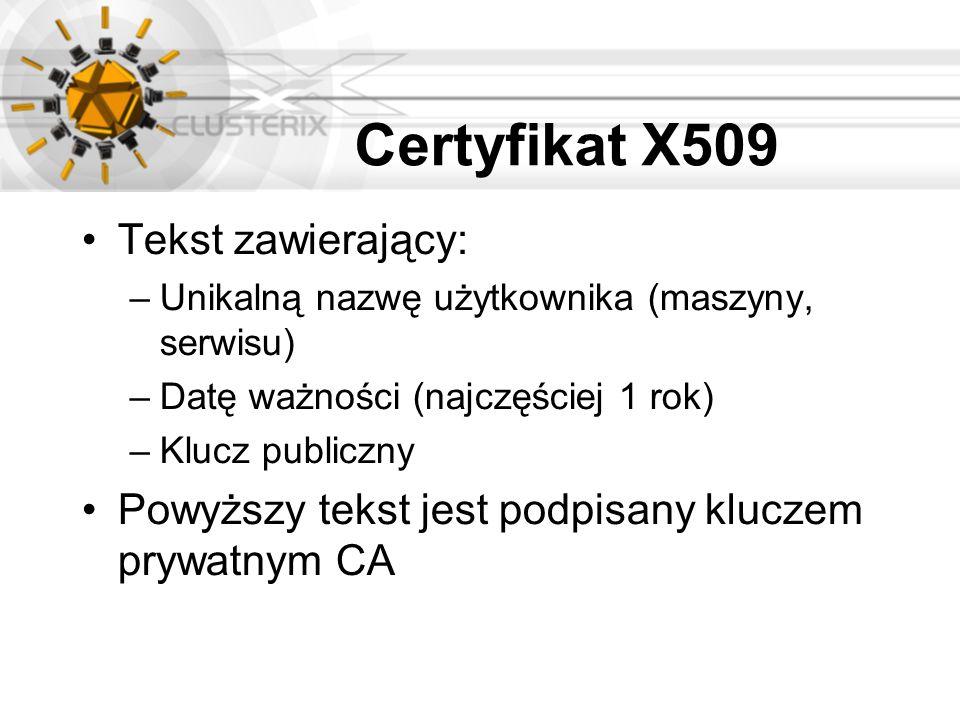 Certyfikat X509 Tekst zawierający: –Unikalną nazwę użytkownika (maszyny, serwisu) –Datę ważności (najczęściej 1 rok) –Klucz publiczny Powyższy tekst j