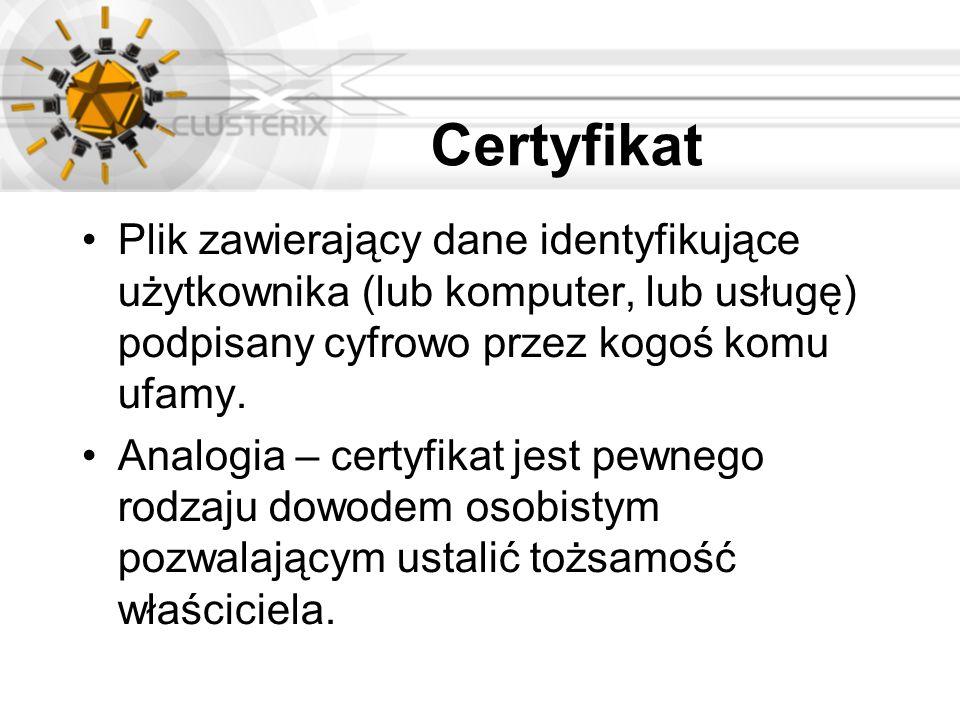 Certyfikat Plik zawierający dane identyfikujące użytkownika (lub komputer, lub usługę) podpisany cyfrowo przez kogoś komu ufamy. Analogia – certyfikat