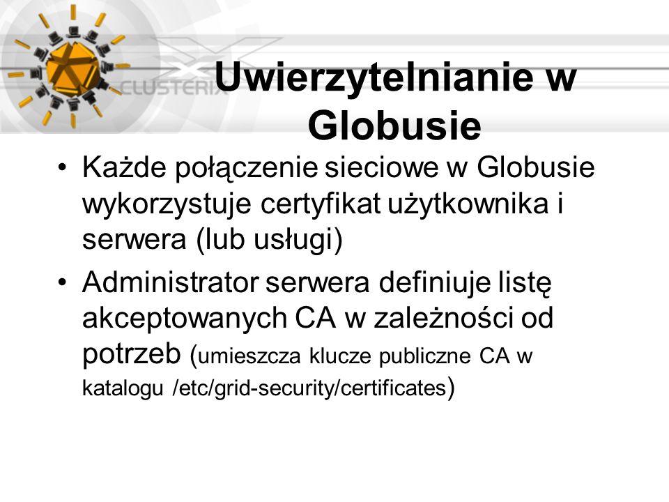 Uwierzytelnianie w Globusie Każde połączenie sieciowe w Globusie wykorzystuje certyfikat użytkownika i serwera (lub usługi) Administrator serwera defi
