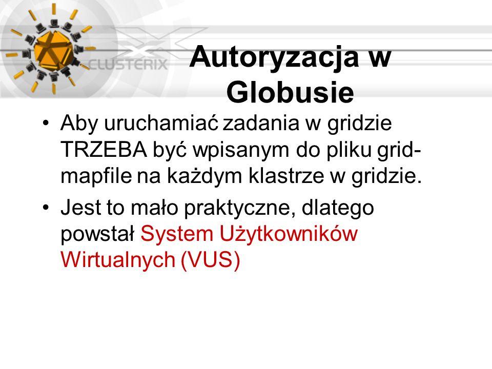 Autoryzacja w Globusie Aby uruchamiać zadania w gridzie TRZEBA być wpisanym do pliku grid- mapfile na każdym klastrze w gridzie. Jest to mało praktycz