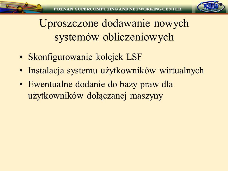 POZNAŃ SUPERCOMPUTING AND NETWORKING CENTER Uproszczone dodawanie nowych systemów obliczeniowych Skonfigurowanie kolejek LSF Instalacja systemu użytkowników wirtualnych Ewentualne dodanie do bazy praw dla użytkowników dołączanej maszyny