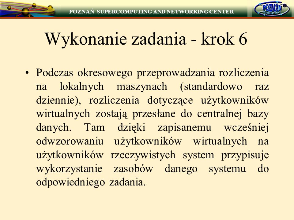 POZNAŃ SUPERCOMPUTING AND NETWORKING CENTER Execution Machine User Machine Server Machine User Interface Queuing System Interface Log Manager File Transfer Queuing System Server Virtual Users Server Queuing System Executive Client Virtual Users Manager Log Manager File Transfer JOB