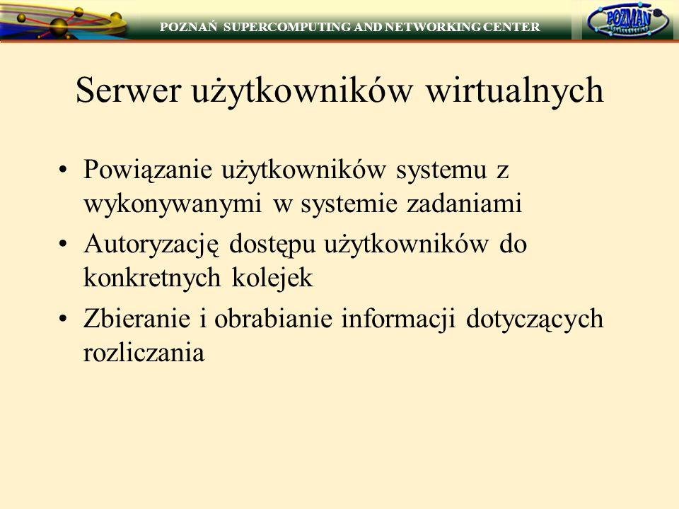 POZNAŃ SUPERCOMPUTING AND NETWORKING CENTER Serwer użytkowników wirtualnych Powiązanie użytkowników systemu z wykonywanymi w systemie zadaniami Autoryzację dostępu użytkowników do konkretnych kolejek Zbieranie i obrabianie informacji dotyczących rozliczania
