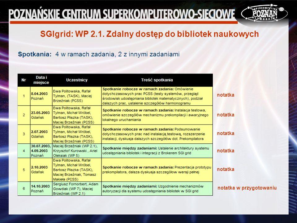 Spotkania: 4 w ramach zadania, 2 z innymi zadaniami SGIgrid: WP 2.1.