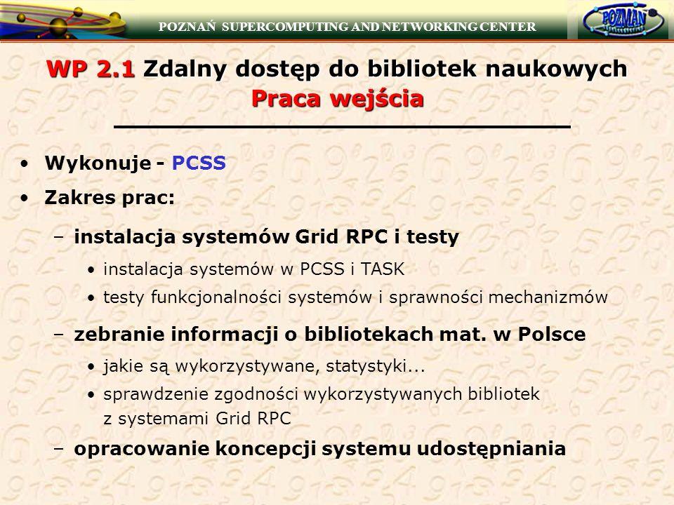 POZNAŃ SUPERCOMPUTING AND NETWORKING CENTER WP 2.1 Zdalny dostęp do bibliotek naukowych Praca wejścia Wykonuje - PCSS Zakres prac: –instalacja systemó
