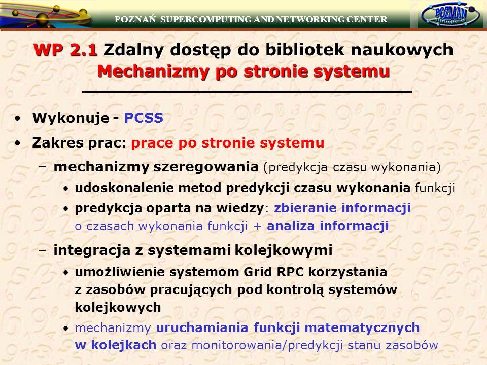 POZNAŃ SUPERCOMPUTING AND NETWORKING CENTER WP 2.1 Zdalny dostęp do bibliotek naukowych Mechanizmy po stronie systemu Wykonuje - PCSS Zakres prac: pra