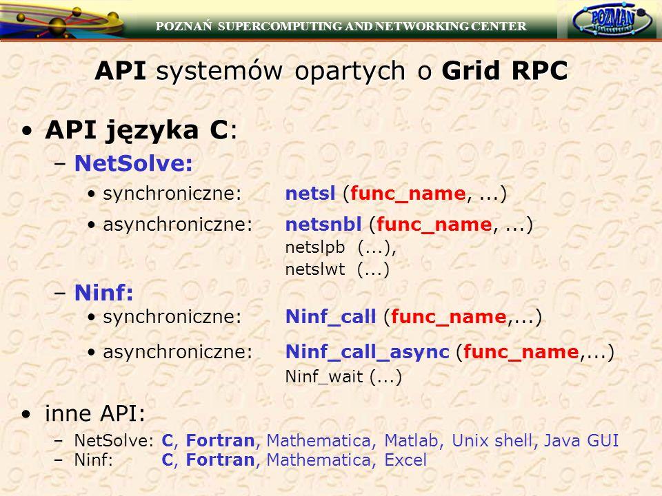 POZNAŃ SUPERCOMPUTING AND NETWORKING CENTER API systemów opartych o Grid RPC API języka C: –NetSolve: synchroniczne:netsl (func_name,...) asynchronicz