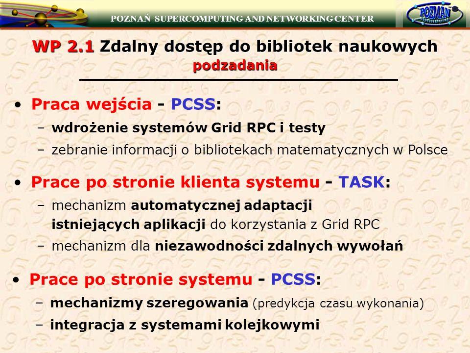 POZNAŃ SUPERCOMPUTING AND NETWORKING CENTER WP 2.1 Zdalny dostęp do bibliotek naukowych podzadania Praca wejścia - PCSS: –wdrożenie systemów Grid RPC