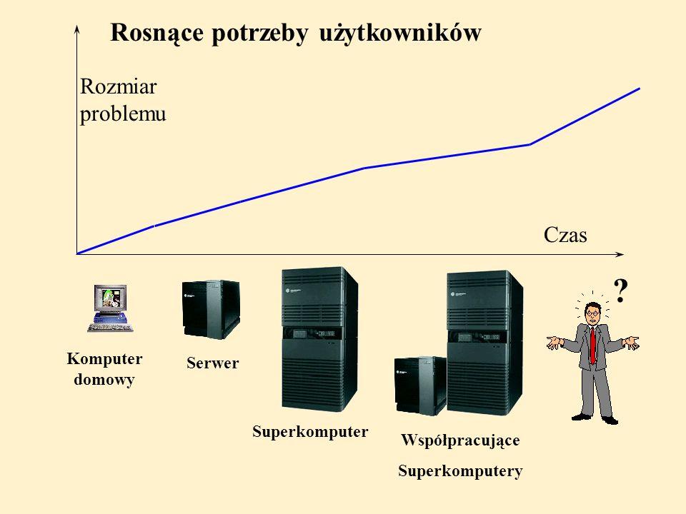 Rozmiar problemu Czas Komputer domowy Serwer Współpracujące Superkomputery Superkomputer Rosnące potrzeby użytkowników ?
