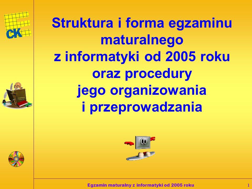Egzamin maturalny z informatyki od 2005 roku11 1.W pracowni, w której odbywa się egzamin znajdują się sprawne komputery przeznaczone do pracy dla zdających i komputer operacyjny.