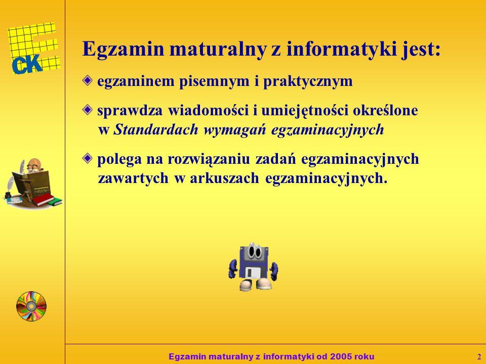 Egzamin maturalny z informatyki od 2005 roku2 Egzamin maturalny z informatyki jest: egzaminem pisemnym i praktycznym sprawdza wiadomości i umiejętności określone w Standardach wymagań egzaminacyjnych polega na rozwiązaniu zadań egzaminacyjnych zawartych w arkuszach egzaminacyjnych.