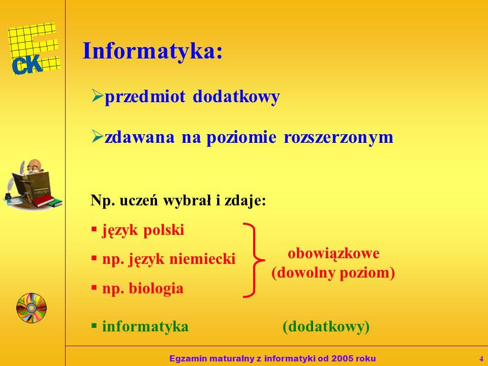 Egzamin maturalny z informatyki od 2005 roku4 Informatyka: przedmiot dodatkowy zdawana na poziomie rozszerzonym Np.