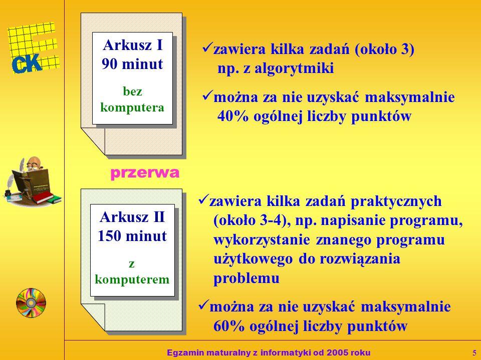 Egzamin maturalny z informatyki od 2005 roku5 Arkusz I 90 minut bez komputera Arkusz I 90 minut bez komputera Arkusz II 150 minut z komputerem Arkusz II 150 minut z komputerem zawiera kilka zadań (około 3) np.